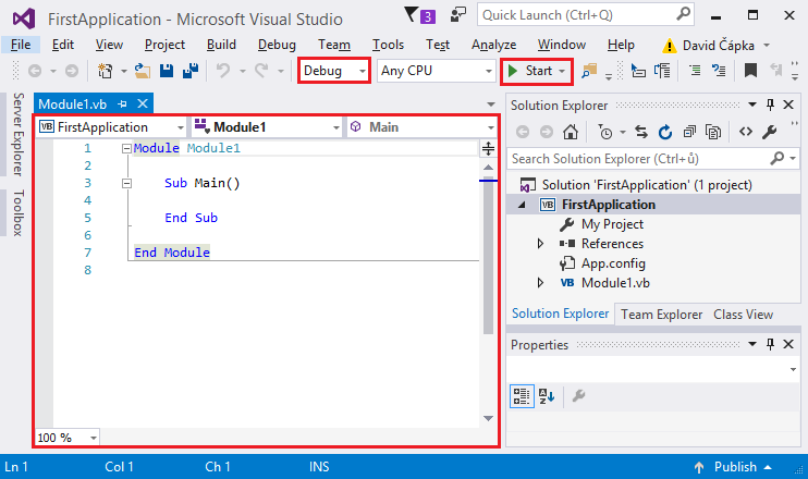 Lesson 2 - Visual Studio and your first VB NET console