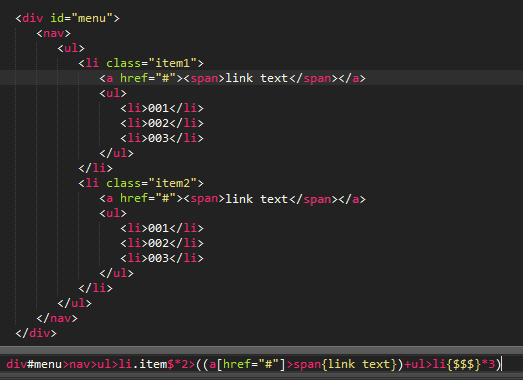 Sublime Text Emmet